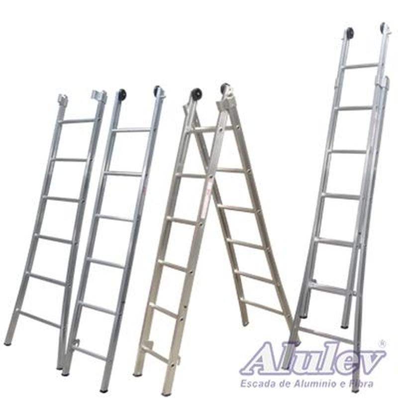 Escada Profissional Esticável Dupla - ED 3 em 1 - 6,00m