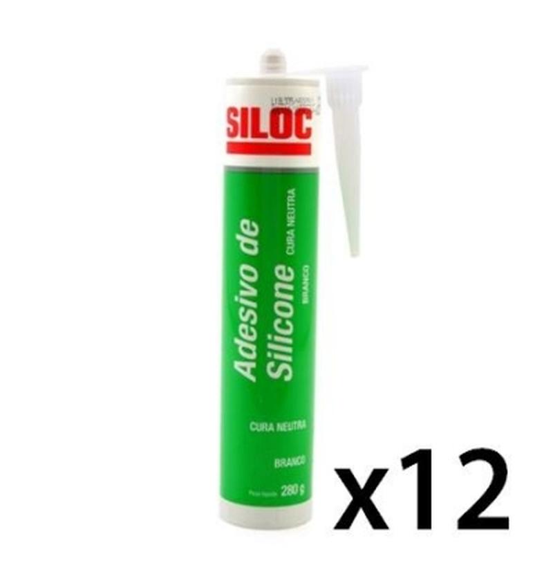 Adesivo de silicone cura neutra transparente 280ml SILOC 12Unidades
