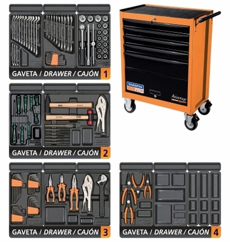 Carro para Ferramentas 5 Gavetas e 1 Porta Advantage Super Series 115 peças TRAMONTINA-PRO