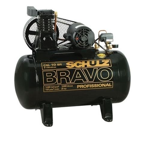 Compressor de ar 140 libras 10 pés 100 litros monofásico BRAVO