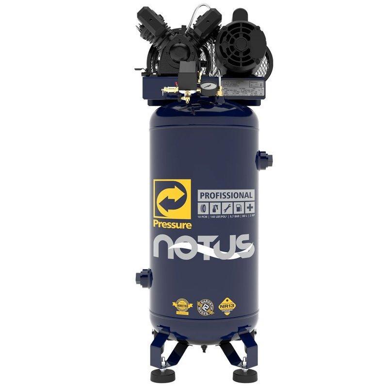 Compressor de Ar Vertical Notus 10PCM 80L 2HP 110/220V Monofásico PRESSURE