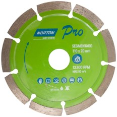 Disco de corte diamantado segmentado 110x20mm 13900RPM NORTON