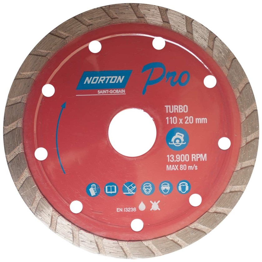 Disco de corte diamantado turbo 13.900RPM 110x20mm NORTON