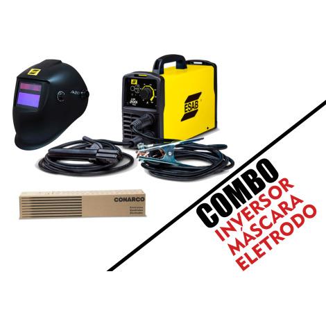 Combo Inversor de Solda LHN 200I Plus ESAB + Mascara de Solda A20 + Eletrodo A-13 2,5mm/1kg