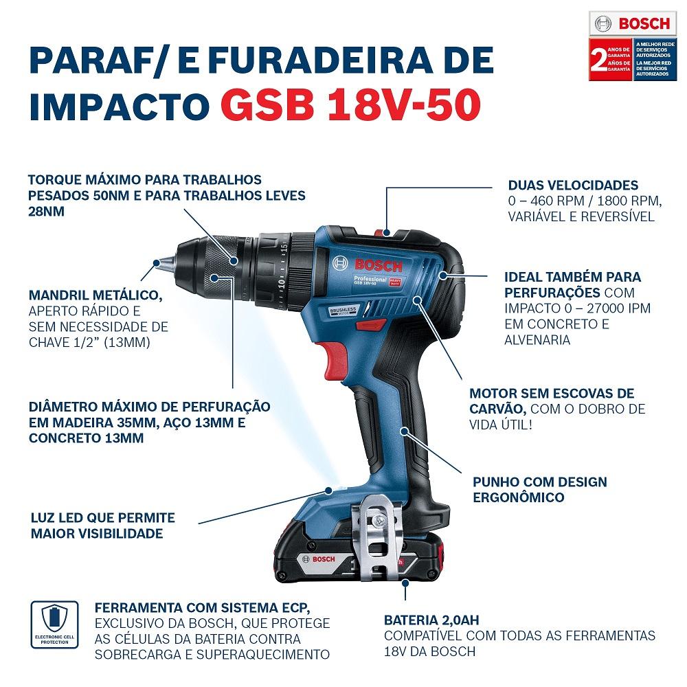 Furadeira de Impacto/Parafusadeira GSB18V-50 Bosch C/2 BATERIAS 2,0AH
