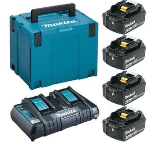 Kit Carregador Duplo e 4 Baterias de 18v 4AH MAKITA